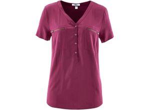 Viskose Bluse, Kurzarm in lila für Damen von bonprix