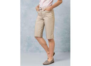 Walbusch Damen Bermuda-Hose Regular Fit Beige einfarbig atmungsaktiv elastisch mit flexiblem Bund temperaturausgleichend ultraleicht