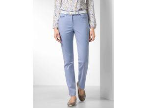 Walbusch Damen Cotton-Hose Feminine Fit Hellblau einfarbig elastisch mit flexiblem Bund