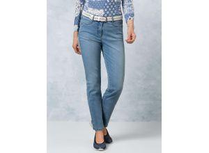 Walbusch Damen Jeans Hose Coolmax Regular Fit Blau einfarbig elastisch mit flexiblem Bund