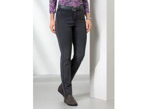 Walbusch Damen Jeans-Hose Feminine Fit Grau einfarbig elastisch mit flexiblem Bund
