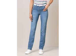 Walbusch Damen Jeans Hose Regular Fit Blau einfarbig atmungsaktiv elastisch mit flexiblem Bund