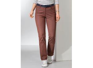 Walbusch Damen Jeans-Hose Regular Fit Braun einfarbig elastisch mit flexiblem Bund