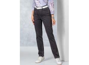 Walbusch Damen Jeans-Hose Regular Fit Grau einfarbig atmungsaktiv elastisch mit flexiblem Bund