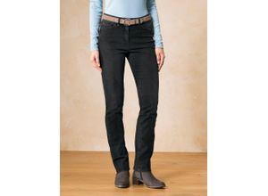Walbusch Damen Jeans-Hose Thermo Regular Fit Schwarz einfarbig elastisch mit flexiblem Bund wärmend