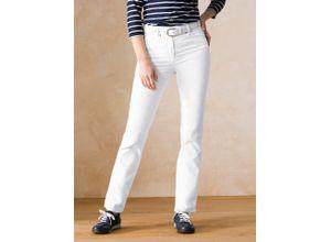 Walbusch Damen Powerstretch Jeans Regular Fit einfarbig Weiß