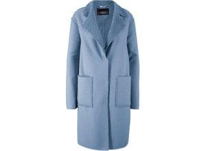 Leichter Mantel in Wolloptik mit Revers und Taschen langarm in blau für Damen von bonprix