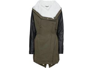 Mantel im Materialmix langarm in grün für Damen von bonprix