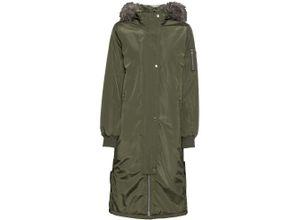 Wintermantel mit Kapuze und seitlichen Druckknöpfen langarm in grün für Damen von bonprix