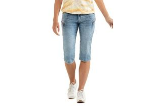 Gina Laura Damen Jeans-Capri Tina, Ziernähte, gerade 5-Pocket, blau, Baumwolle/Polyester/Elasthan