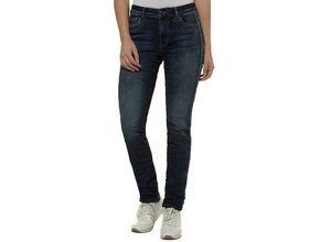 Gina Laura Damen Jeans Julia, Crash-Optik, schmale Form, seitliches Zierband,, blau, Baumwolle/Polyester/Elasthan