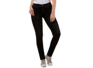 Gina Laura Damen Jeans Julia, Ziernähte, 4-Pocket, schmales Bein, schwarz, Baumwolle/Polyester/Elasthan