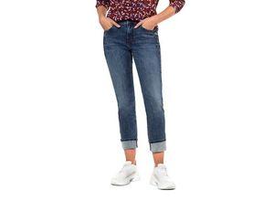 Gina Laura Damen Jeans Tina, Glitzersteinchen, gerade 5-Pocket-Form, blau, Baumwolle/Elasthan
