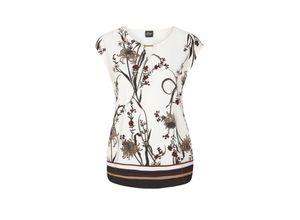 S.oliver Black Label Blusenshirt mit Schmuck-Detail cream placed print, Gr. 34 - Damen Shirt