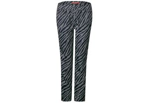 Street One Zebra-Print Hose Bonny Black, Gr. 36/28 - Damen Hose