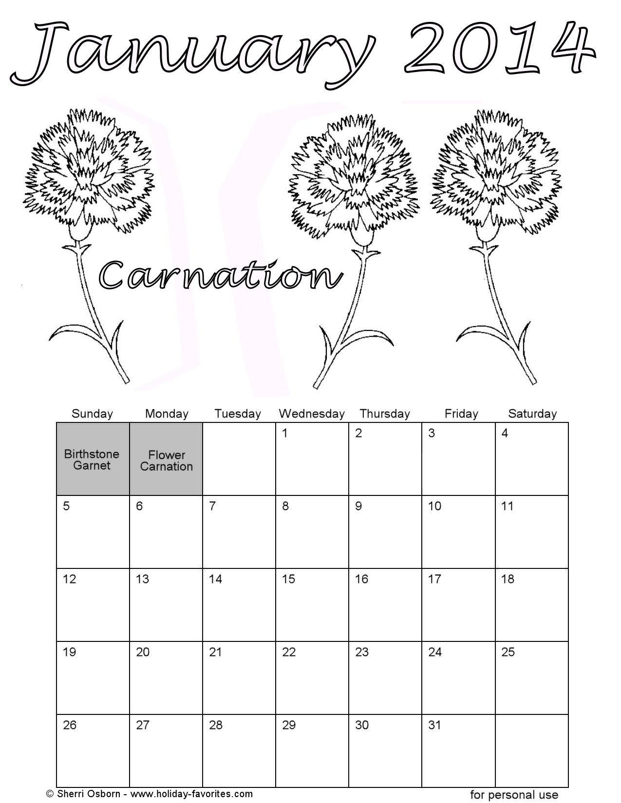 Printable January Calendars