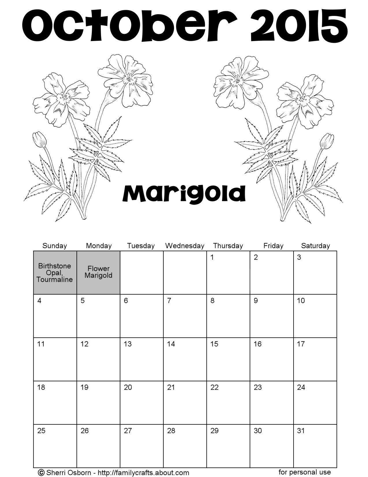 Printable October Calendars