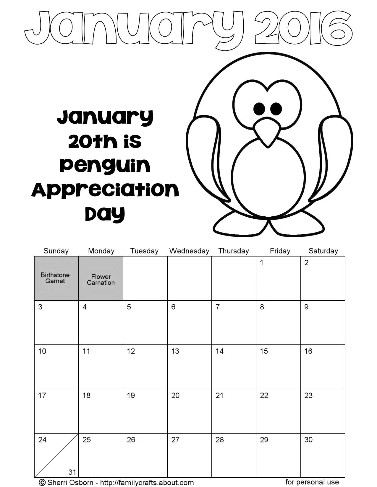 january 2016 printable calendar pages holiday favorites. coloring ...