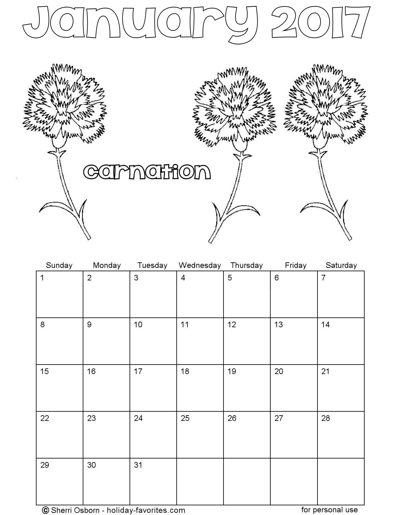 January Printable Calendar Pages
