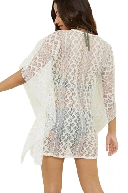 Strandjurk Cover Up V-hals Crochet Wit - Achterkant