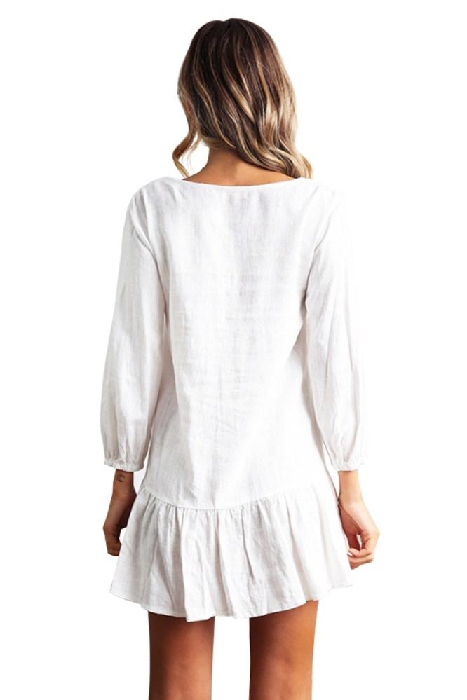 Strandjurk Sleeved wit met knoopjes - Achterkant