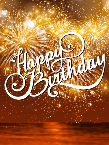 Beautiful Sunset Amp Fireworks Happy Birthday Card Birthday Amp Greeting Cards By Davia