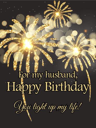 Enchanting Fireworks Happy Birthday Card For Husband