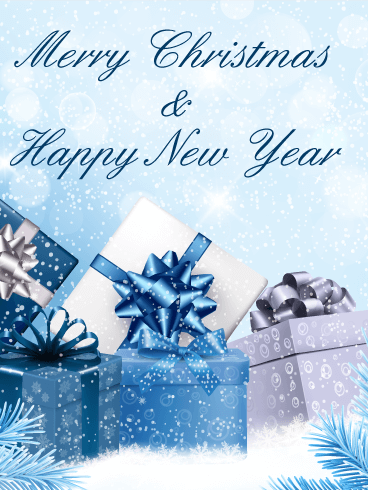 Blue Christmas Gift Box Card Birthday Amp Greeting Cards