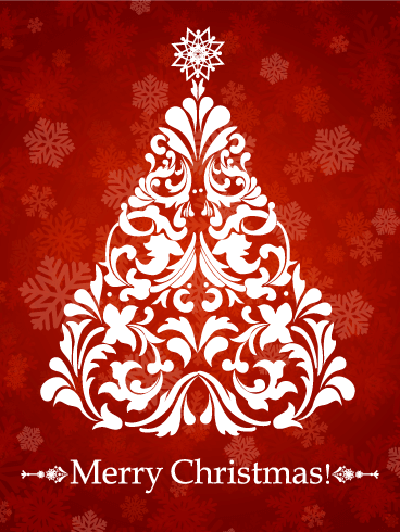 Swirl Christmas Tree Card Birthday Amp Greeting Cards By Davia