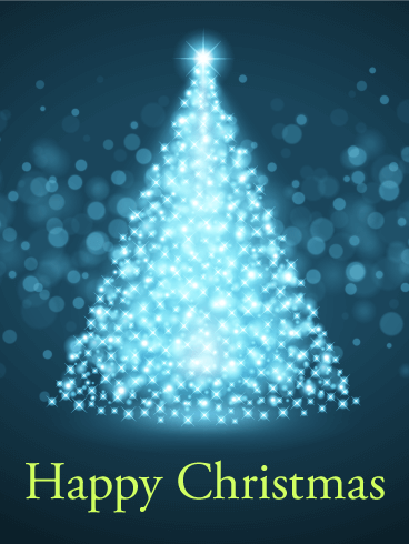 Glowing Christmas Tree Card Birthday Amp Greeting Cards By