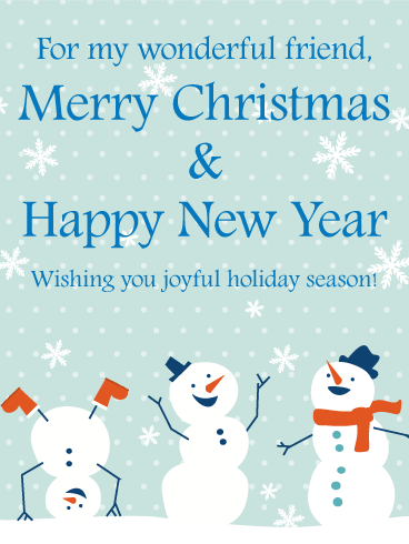 Cheerful Snowmen Christmas Card For Friends Birthday Amp Greeting Cards By Davia