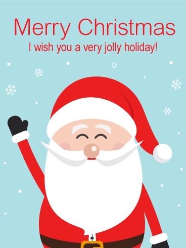 Jolly Cheer Santa Merry Christmas Card Birthday