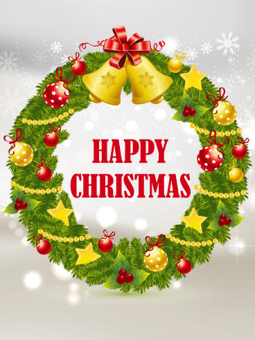 Happy Christmas Wreath Card Birthday Amp Greeting Cards By
