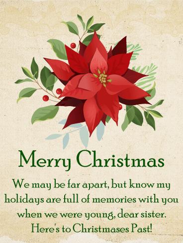 Classic Poinsettia Christmas Card For Sister Birthday