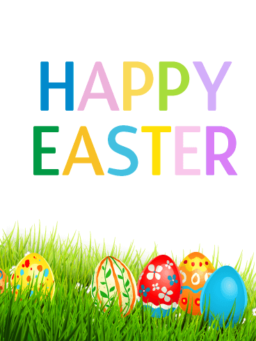 Happy Easter Colorful Easter Egg Card Birthday