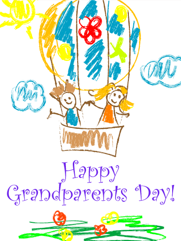Joyful Drawing Grandparents Day Card Birthday Amp Greeting