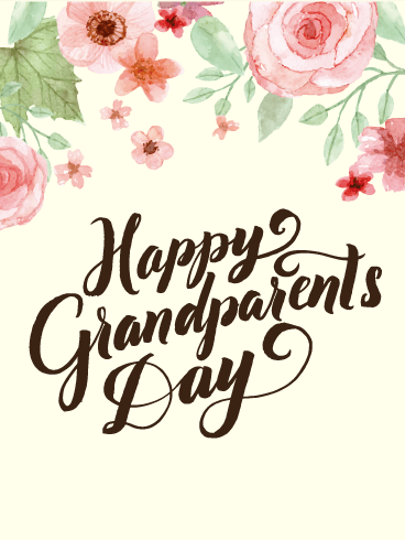Water Paint Flower Grandparents Day Card Birthday