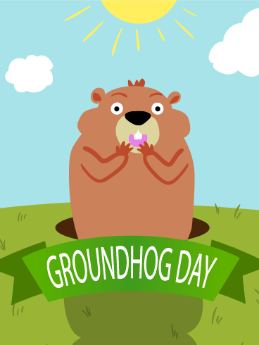 Sunny Day Groundhog Day Card Birthday Amp Greeting Cards
