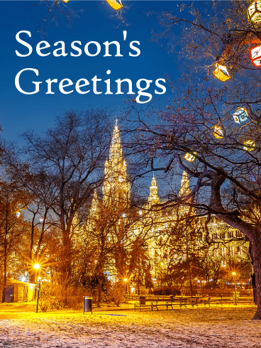 Gorgeous Winter Town Seasons Greeting Card Birthday