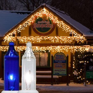 150 Clear/Blue Icicle Lights - White Wire | Commercial Christmas ...