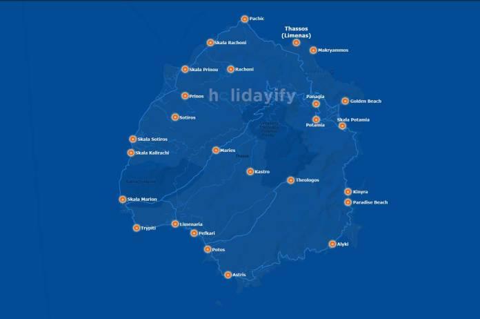 Thassos Haritası, Köyler ve Plajlar