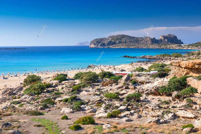 Falassarna beach on Crete island