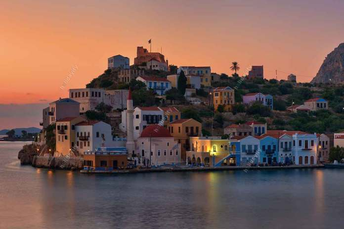 Red sunrise at Kastelorizo harbor