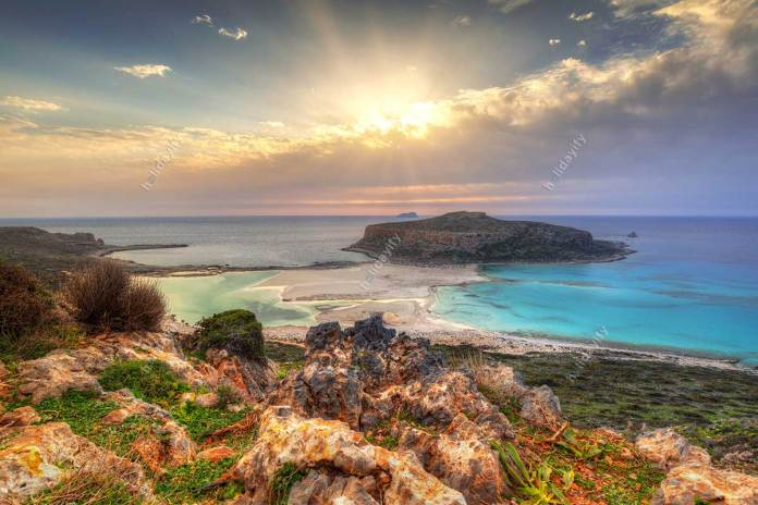 Sunset over beautiful Balos beach on Crete