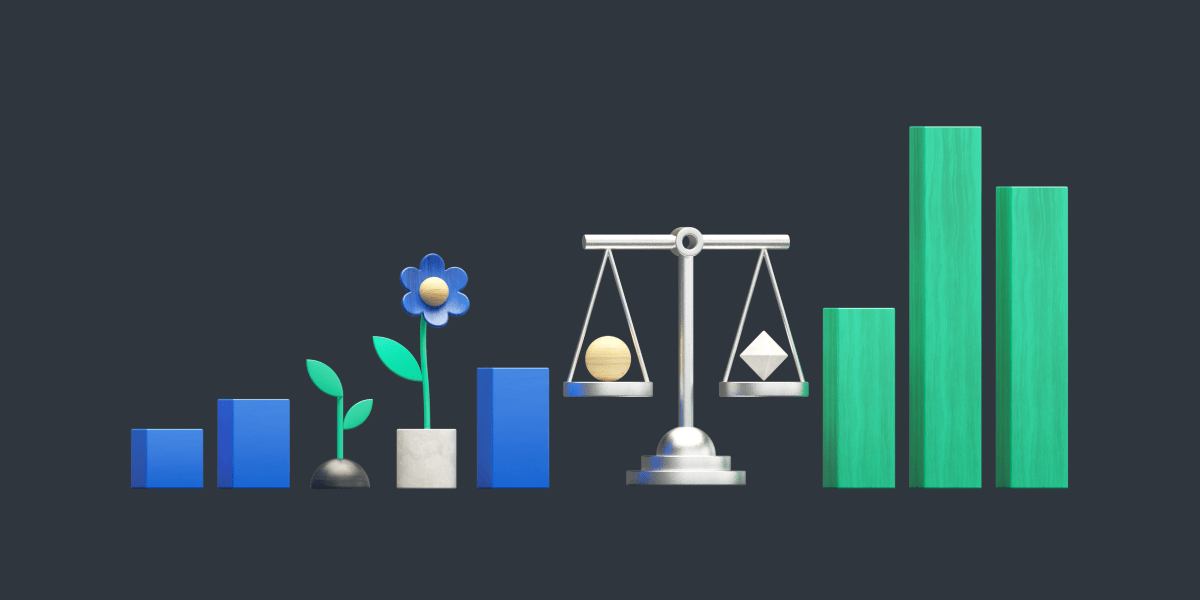Infographic with bar graph, plants, and scales to communicate socially-responsible investing.