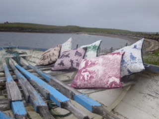 Julie Williamson Designs cushion covers on boat - Shetland holidays