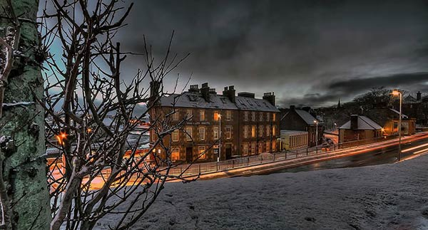 Mackays Hotel in the snow Wick Scotland
