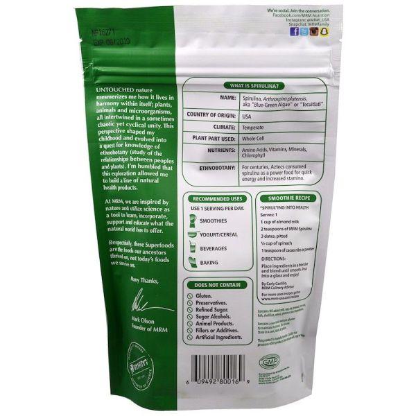 Spirulina back Raw Spirulina Powder 8.5 oz