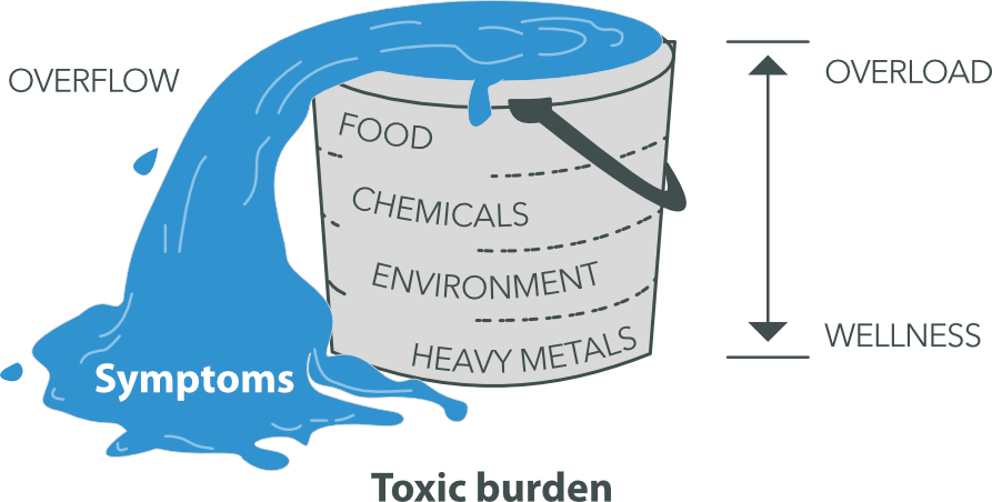 Photo of an overflowing bucket representing toxic burden from heavy metals, environmental stressors, chemicals and bad food.