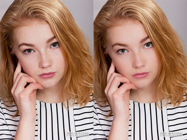 Image showing before and after portrait retouch effect